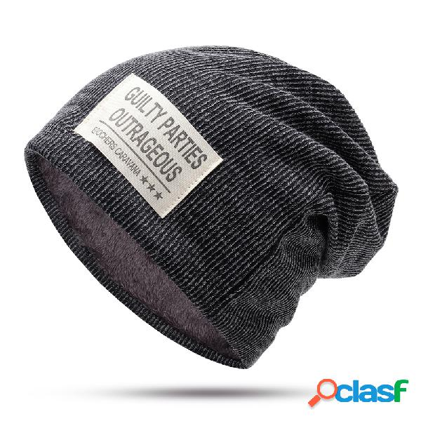 Hombres raya terciopelo de lana de algodón Sombrero Warm