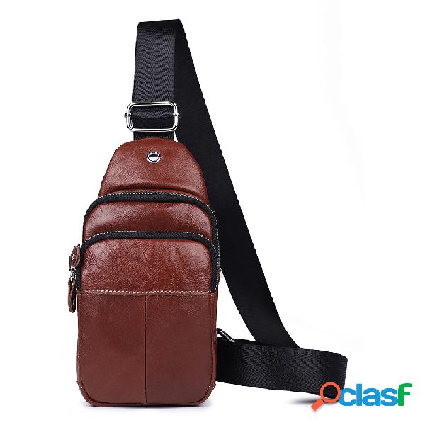 Hombres vendimia Piel Genuina Crossbody Bolsa EarPhone Hole