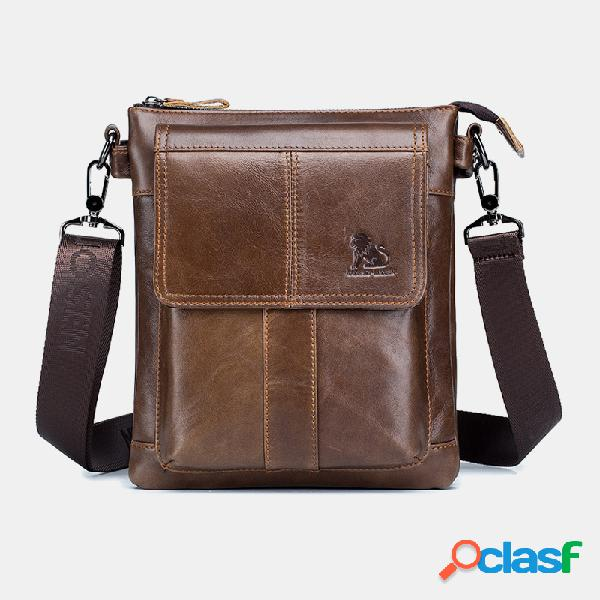 Hombres vendimia Piel Genuina Impermeable Business Crossbody