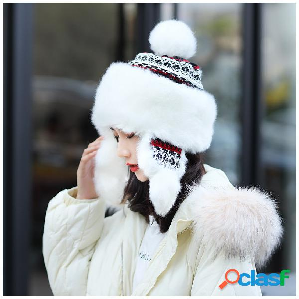 Invierno ruso para mujer Sombrero Trapper Sombrero Gorro de
