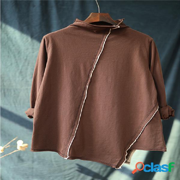 Irregular Line Blusa de manga larga con cuello alto y