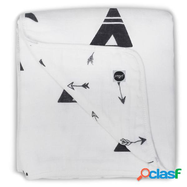 Jollein Manta de bebé de muselina 120x120 negro y blanco