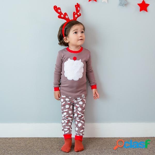 Juego de pijama de navidad para niños, 2 pzs. Juego de ropa