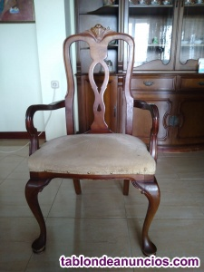 Juego sillas clásicas salón madera maciza