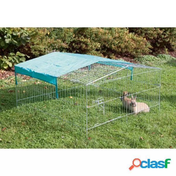 Kerbl Corral para mascotas al aire libre Easy metal plateado