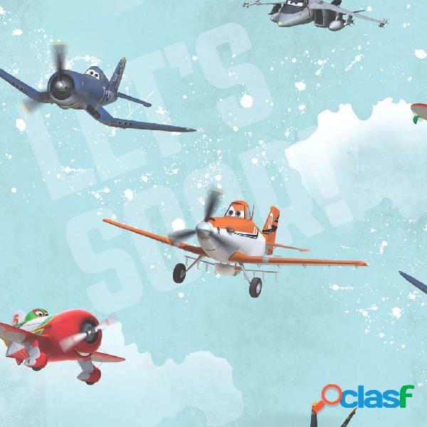 Kids at Home Papel de pared Planes azul 70-237