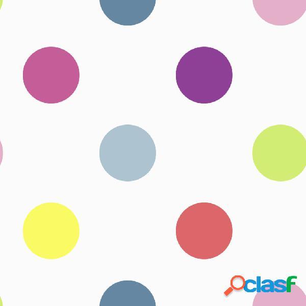 Kids at Home Papel pintado Dotty multicolor brillante