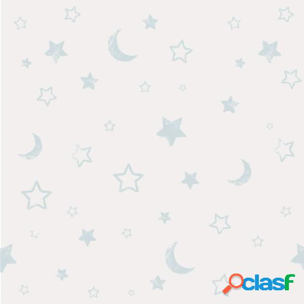 Kids at Home Papel pintado Pooh Goodnight blanco y azul