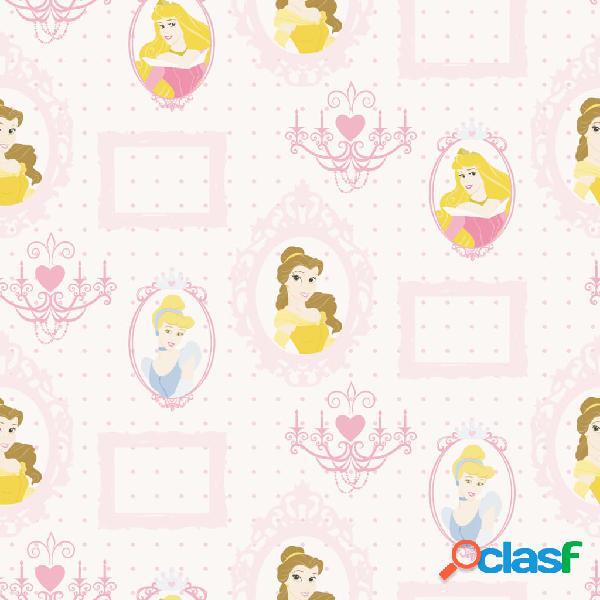 Kids at Home Papel pintado Princess Frames blanco y rosa