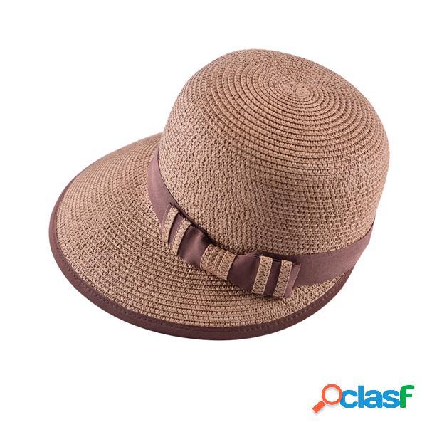LYZA Mujer Verano Bowknot Ala ancha Floppy Straw Sombrero
