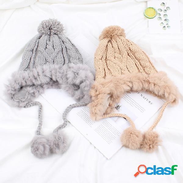Lana cálida Sombrero Tejido lindo Sombrero Plus Orejeras de
