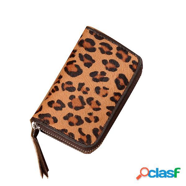 Leopard Piel Genuina Titular de la llave del monedero para