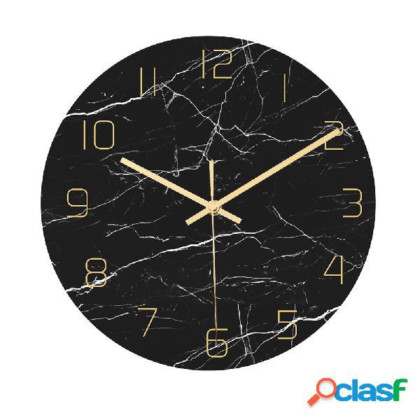 Loskii CC010 Creative Mármol Patrón Wall Reloj Mute Wall