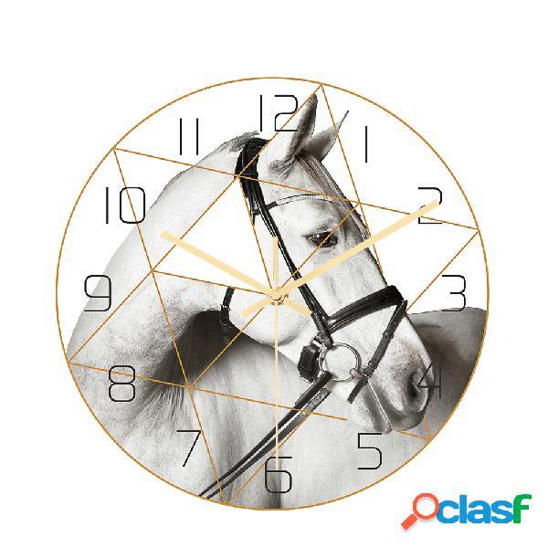Loskii CC017 Creative Caballo Patrón Wall Reloj Mute Wall