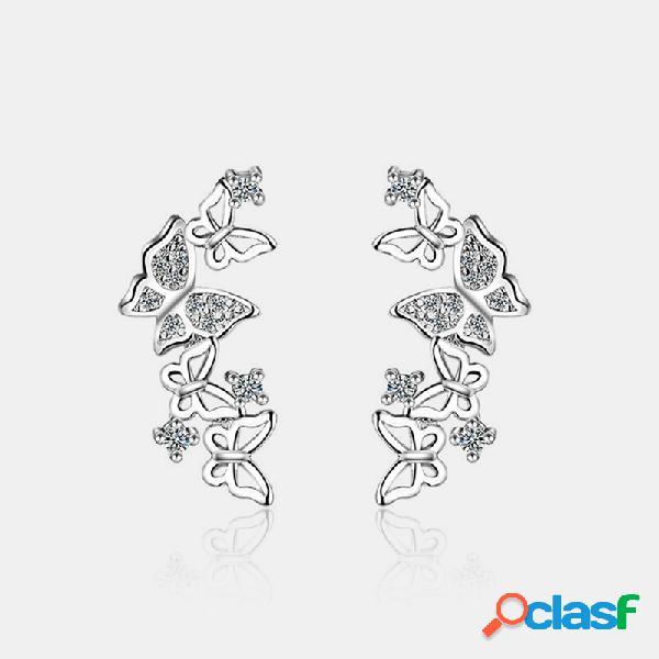 Mariposa elegante de plata 925 Pendientes Mariposa