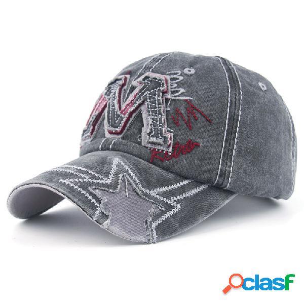 Mens M carta algodón lona lavada gorra de béisbol