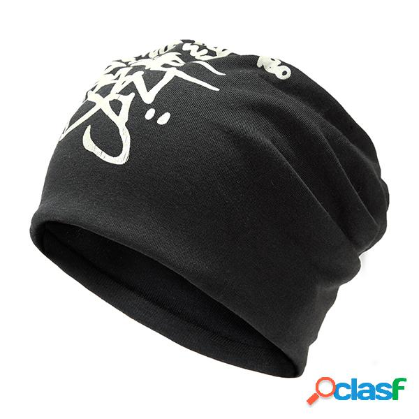 Mens Unisex Letter Printing Beanie Sombrero Casual Cálido