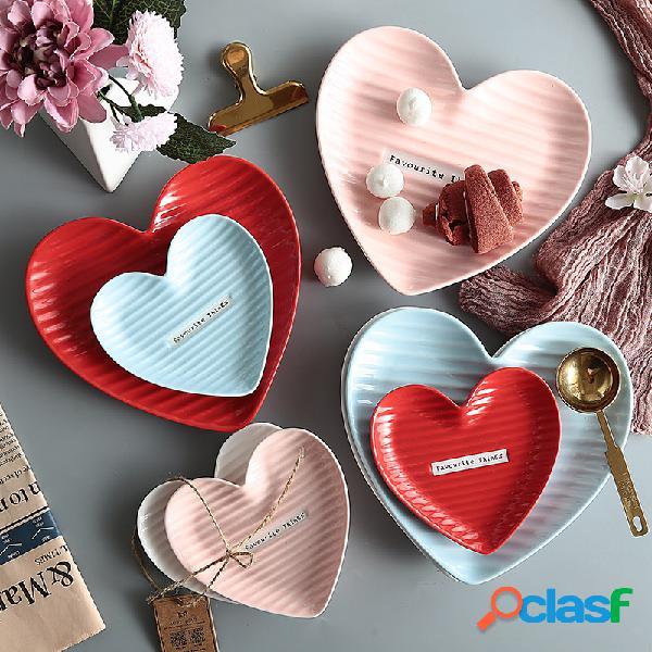 Merienda creativa en forma de corazón Placa Placa Pastel de