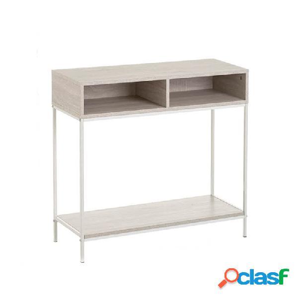 Mesa de entrada mdf y metal madera clara