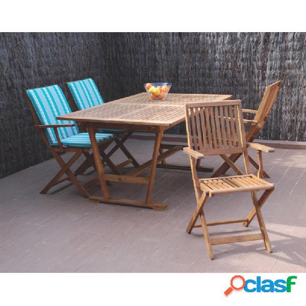 Mesa rectangular extensible madera tropical acacia fsc