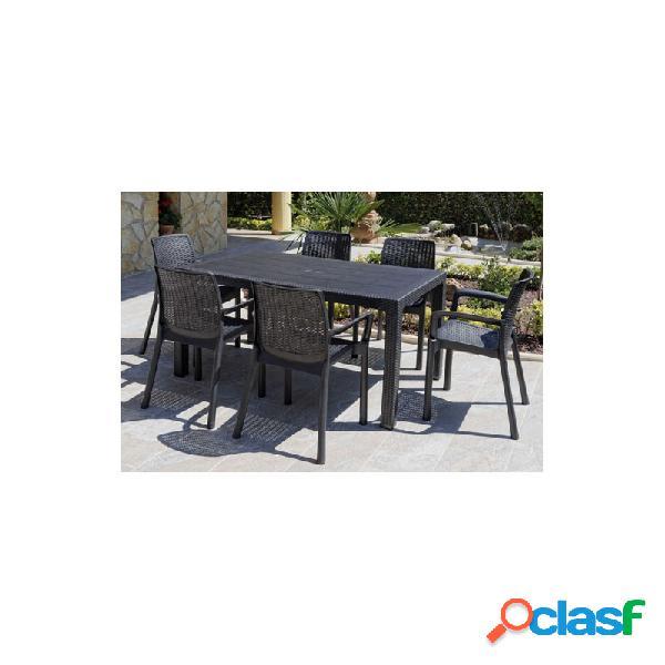 Mesa resina ratan 150x90 cm elegance negro
