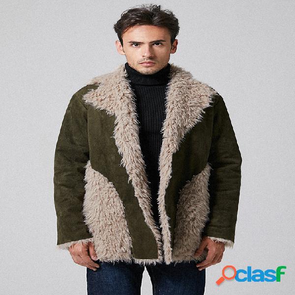 Mezclas de lana para hombre Piel gruesa Patchwork Forro
