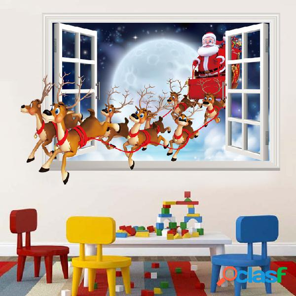 Miico XH7229 Christmas Sticker Cartoon Christmas Deer Santa