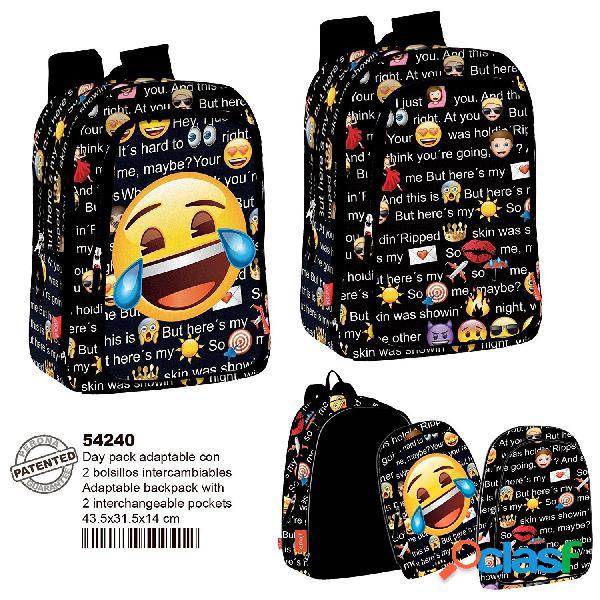 Mochila emoticonos Emoji Talk 2 con bolsillos