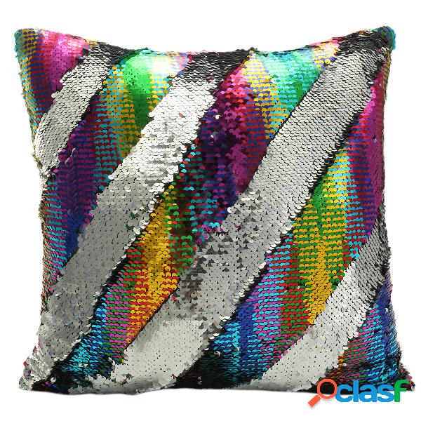 Moda Lentejuelas Magia Sirena Throw Pillow Cover Swipe Sofa