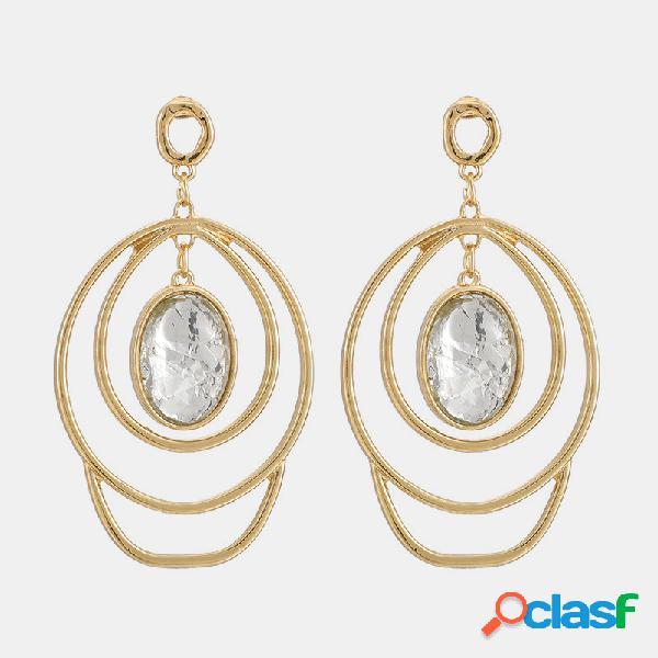 Moda Metal hueco redondo Colgante Pendientes Diamante