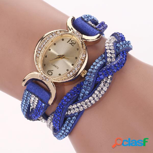 Moda cuarzo reloj de pulsera de cuero colorido Rhinestone