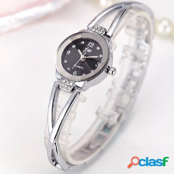 Moda cuarzo reloj de pulsera de oro plata correa de acero