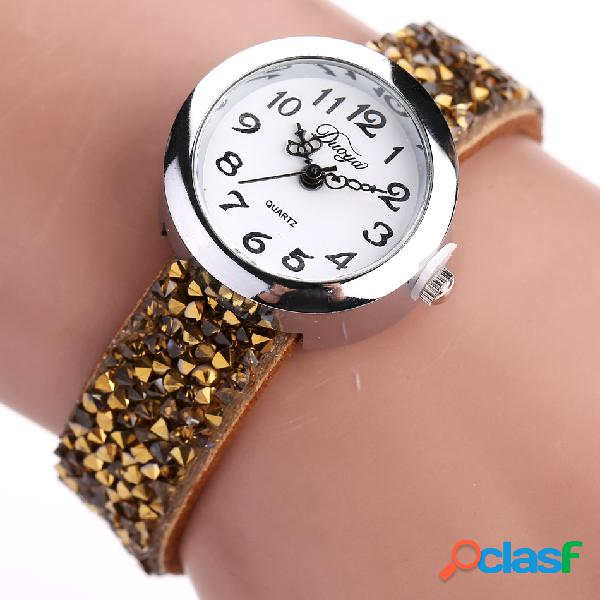 Moda cuarzo reloj de pulsera multicolor cuero Rhinestone