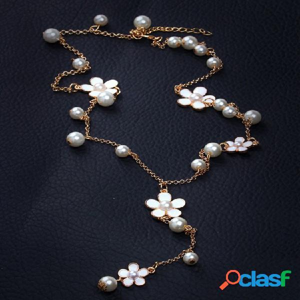 Moda metal geometría flor collar largo perla borla Colgante