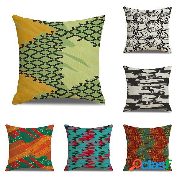 Moderno abstracto Patrón Funda de cojín de lino Sofá