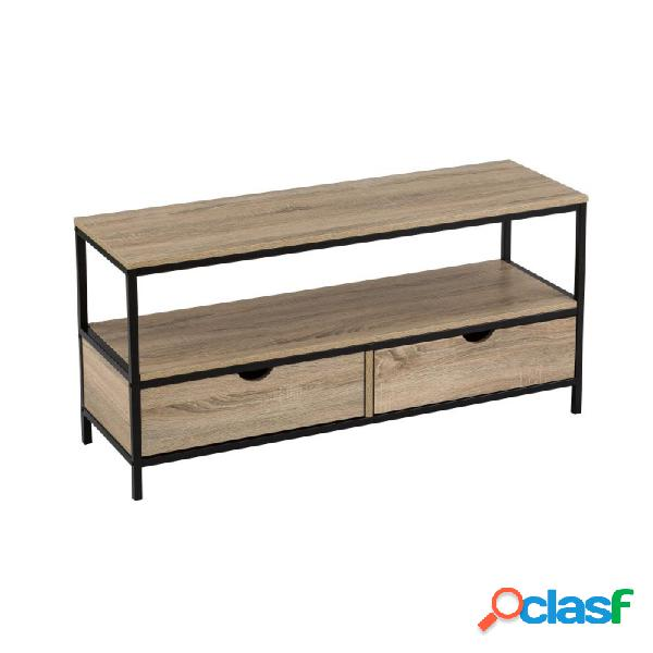 Mueble tv con 2 cajones mdf / metal 120 x 39 x 57 cm