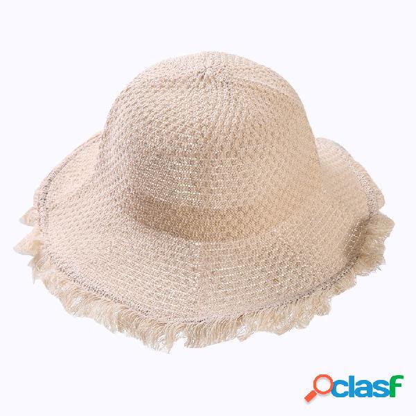 Mujer Algodón de lino plegable Sol Playa Sol Sombrero al