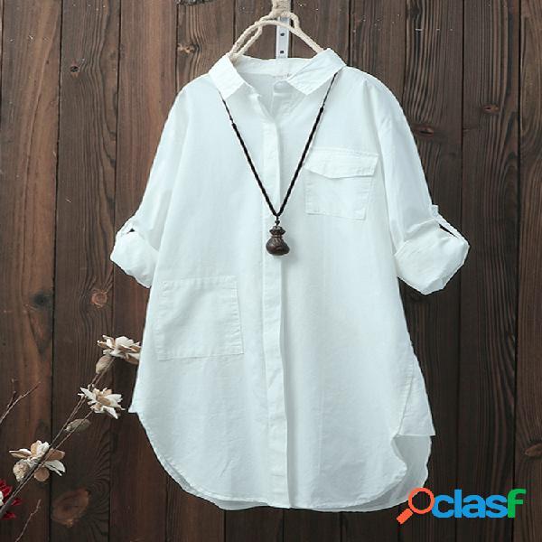 Mujer Camisas de manga larga sueltas de color liso