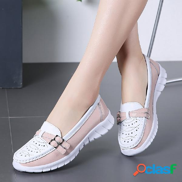 Mujer Casual Walking Hollow Slip On Zapatos planos