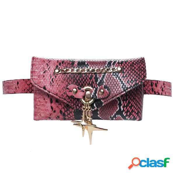 Mujer Cocodrilo Patrón Cintura Bolsa Cofre de PU Bolsa