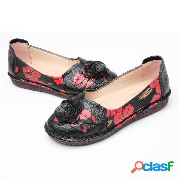 Mujer Comfy Soft Flores Piel Genuina Slip On Flats