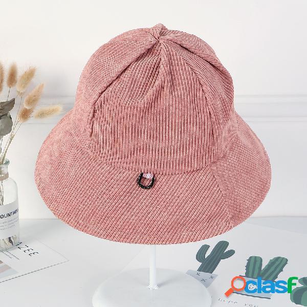 Mujer Corduroy de color liso pesca Sombrero Gorro de rayas