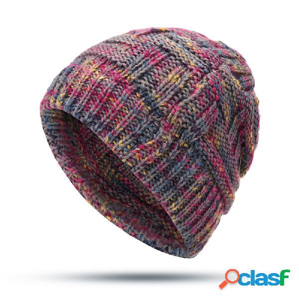Mujer Crochet Knit Messy Bun Warm Soft Sombrero al aire