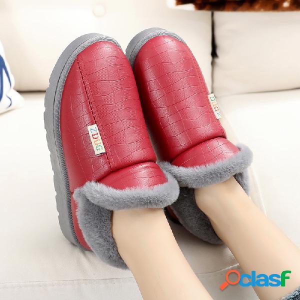 Mujer Deslizamiento ligero en forro de piel cálida Zapatos