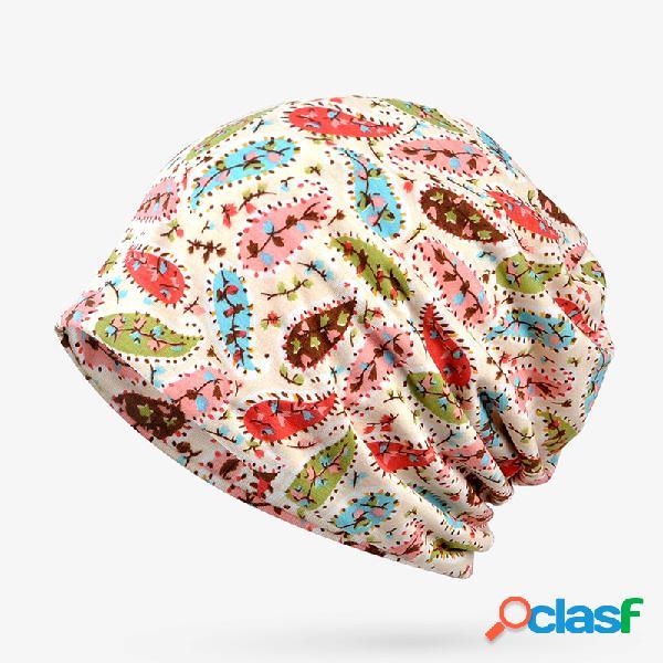 Mujer Flor pequeña Patrón Algodón fino Beanie Sombrero