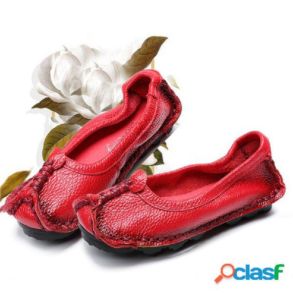 Mujer Folkways Ballet Piel Genuina zapatos Bean Flats