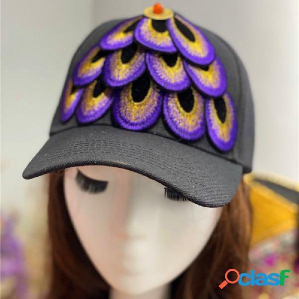 Mujer Gorra de béisbol con plumas estampadas bordadas