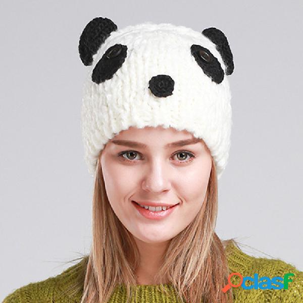 Mujer Gorro Beanie Winter Warm Cute Panda al aire libre