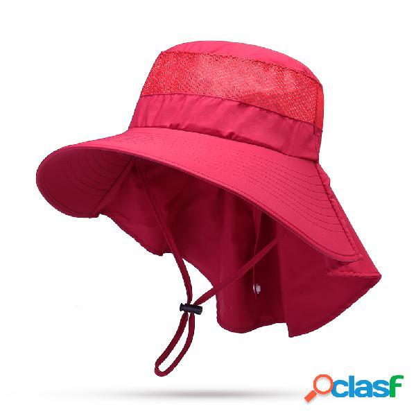 Mujer Hombres Big Brime Summer Visor Bucket Sombrero al aire