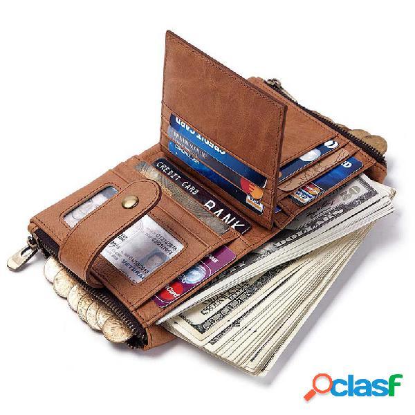 Mujer Hombres RFID Piel Genuina Moneda Bolsa Portatarjetas